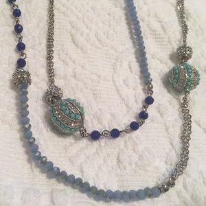 Gorgeous LOFT aqua, silver & blue beaded necklace
